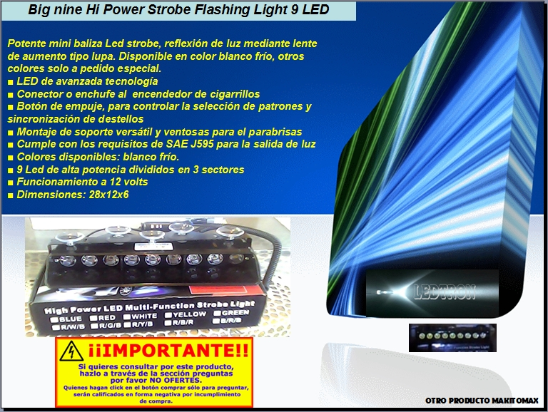 Mini Baliza Hi-power, con lente aumentador de brillo